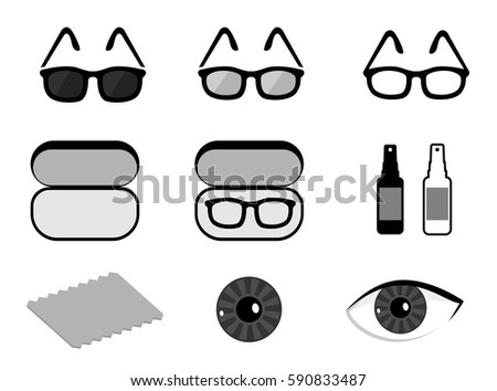 Vector set of ophthalmology icons: isolated sunglasses, lens, accessories, spray, rag, case for glasses on white background.