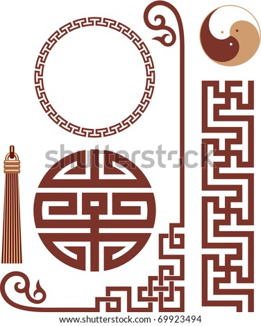 Vector Set of Oriental Design Elements seamless border corner knot frame