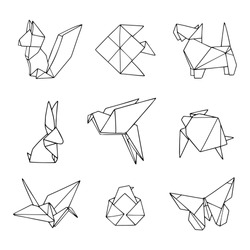 Vector set of origami animals. Lovely hand drawn illustration with outline. Black and white.