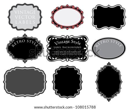 vector set of original hand drawn vintage labels