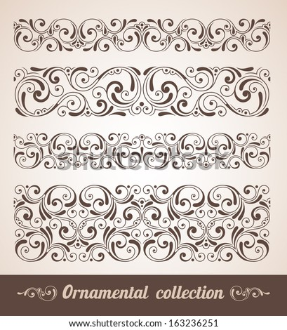 Vector set of ornamental elements. Seamless pattern for frames and borders