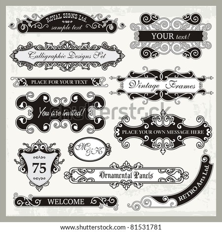 Vector set of ornamental frames and sign designs in vintage style.