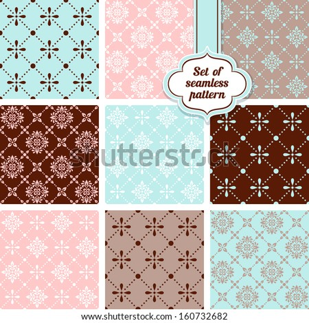 Vector set of ornamental geometric floral background. Seamless pattern for your design wallpapers, pattern fills, web page backgrounds, surface textures.