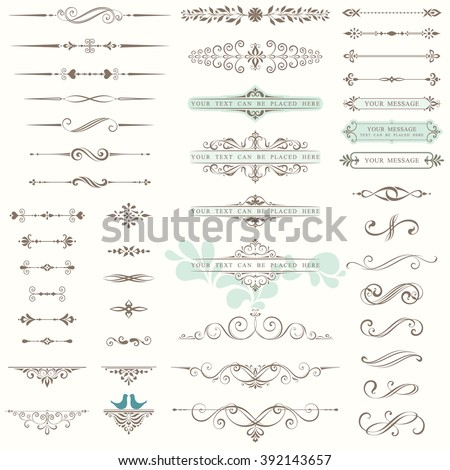 Vector set of ornate calligraphic vintage elements, dividers and page decorations. Use for invitations, greeting cards, banners, posters, placards, badges or logotypes.
