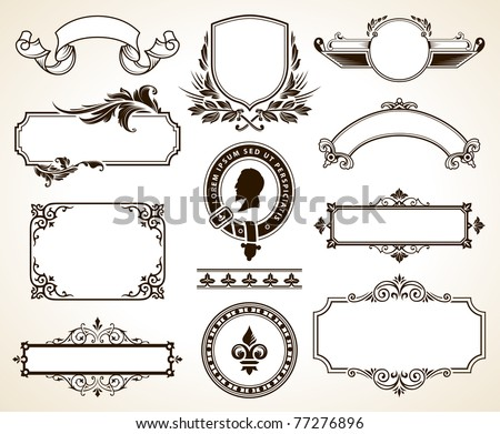 Vector set of ornate frames and calligraphic design elements.