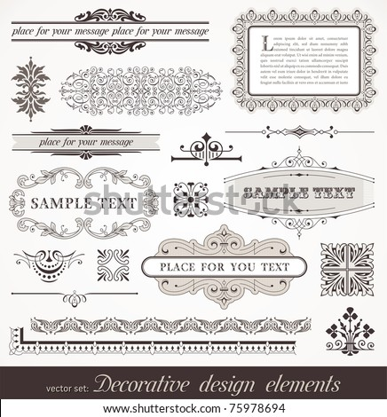 Vector set of ornate page decor elements: borders, banner, dividers, ornaments and patterns