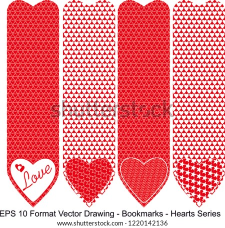 Vector set of ornate vertical Bookmark cards in heart style.  It can be used as wall board, banner, icon, wallpaper, gift card, bookmark or book separator.