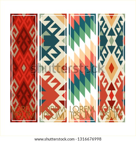 Vector set of ornate vertical Bookmark cards in oriental turkish rug style.  It can be used as wall board, banner, icon, wallpaper, gift card, bookmark or book separator.