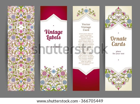 Vector set of ornate vertical cards in oriental style. Colorful Eastern floral decor. Template vintage frame for greeting card and wedding invitation. Labels and tags with place for text.