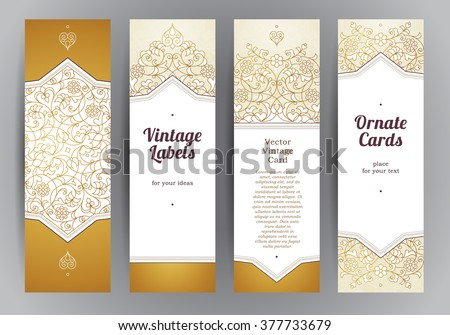 Vector set of ornate vertical cards in oriental style. Golden Eastern floral decor. Template vintage frame for greeting card, invitation, thank you message. Labels and tags with place for text.