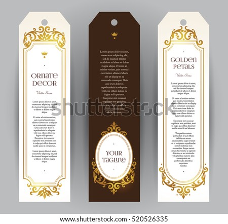 Vector set of ornate vertical cards in Victorian style. Eastern floral decor. Template vintage frame for card, invitation, thank you message, badge. Golden labels and tags with place for text.