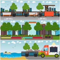 Vector set of outdoor workout interior posters, banners. Embankment cityscape with walkway, bicycle path, street food cart, icecream truck, benches and sports ground in the park. Flat style design.