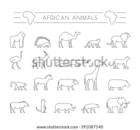 vector set of outline african