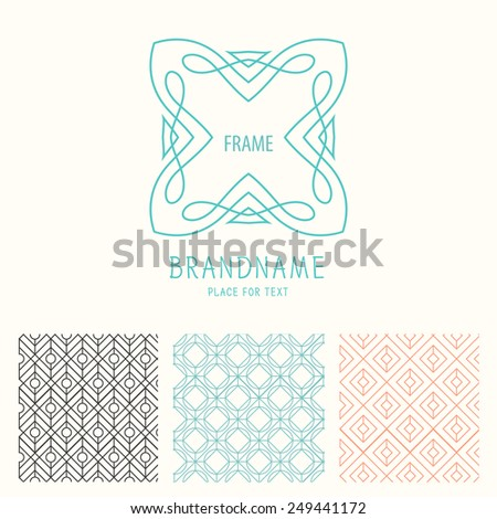 Vector set of outline emblems and badges abstract hipster logo templates Elegant lineart logo design elements vector illustration