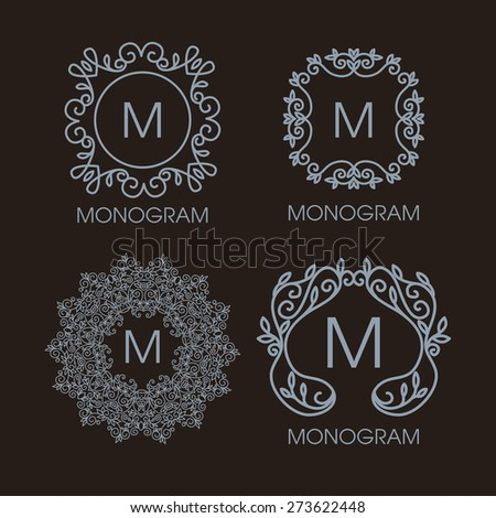 Vector set of outline emblems and badges abstract hipster logo templates Vintage design