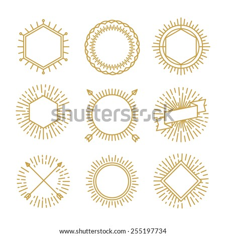 Vector set of outline emblems and badges - abstract linear hipster logo templates