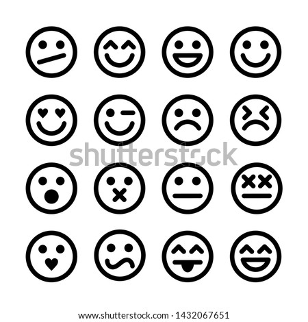 Vector Set Of Outline Emoticons.