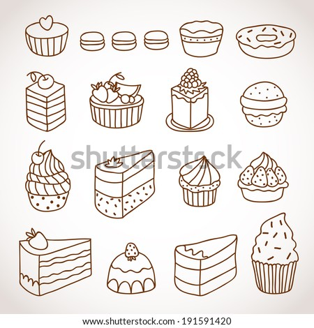 Vector set of outline hand drawn sweet cakes tarts pie donut cupcakes chocolate dessert bakery