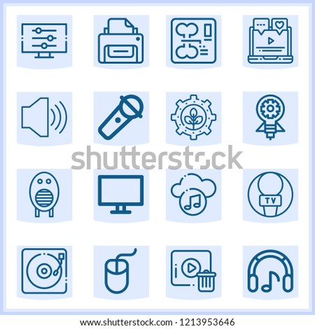 Vector set of 16 outline web icons with high quality on following themes bone, printer, speaker, microphone, renewable energy, innovation, computer, laptop, computer mouse #1213953646