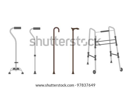 Vector Set of outlined walking sticks for seniors