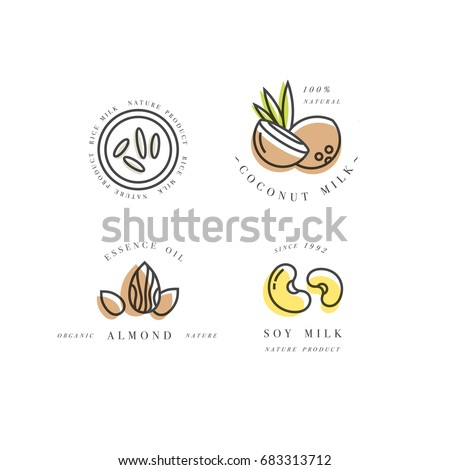 Vector set of packaging design elements and icons in linear style - almond, coconut, rice and soy milk - healthy vegan drinks. Logo sign