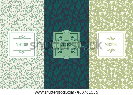 Vector set of packaging design templates, seamless patterns and frames with copy space for text for cosmetics, beauty products, organic and healthy food with green leaves and flowers