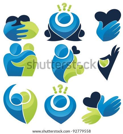 vector set of palm, hearts,people, love and communication