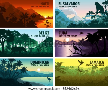 vector set of panoramas countries of caribbean and Central America - Haiti, Jamaica, Dominican, Cuba, El Salvador, Belize.