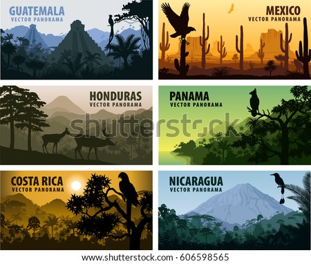 vector set of panorams countries Central America - Guatemala, Mexico, Honduras, Nicaragua, Panama, Costa Rica