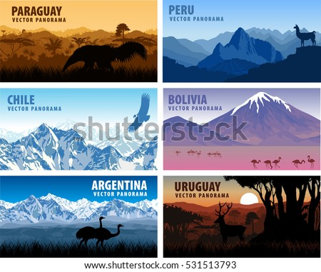 vector set of panorams