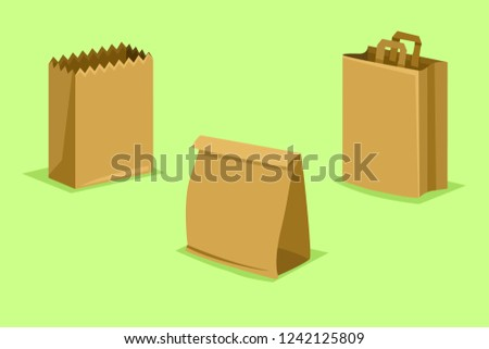 Vector Set of Paper Bags on Light Green Background. Ecological Package.