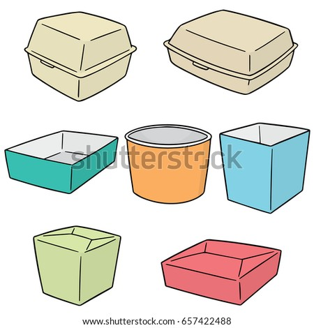 vector set of paper food container