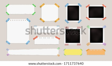 Vector set of paper frames, blank template, different memo stickers and tapes, photo cards, isolated illustrations, backgrounds, reminder, notebook pages. Stock photo ©