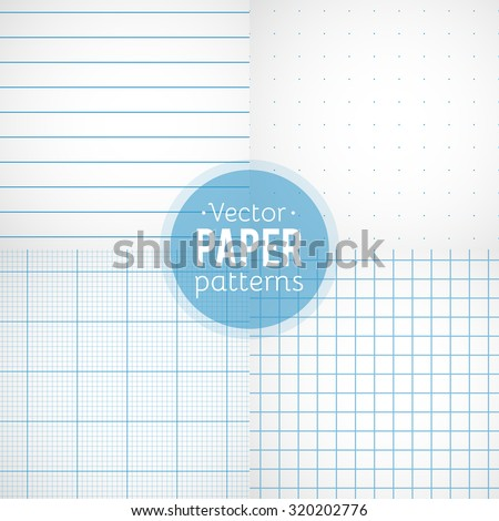 Vector set of paper patterns. Ruled, dotted, millimeter and squared papers