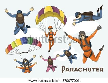 vector set of parachuter