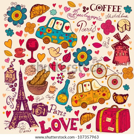Vector set of Paris symbols Vector seamless pattern
