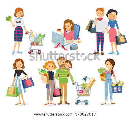vector set of people and couples, mall shopping, on-line shopping, healthy eating