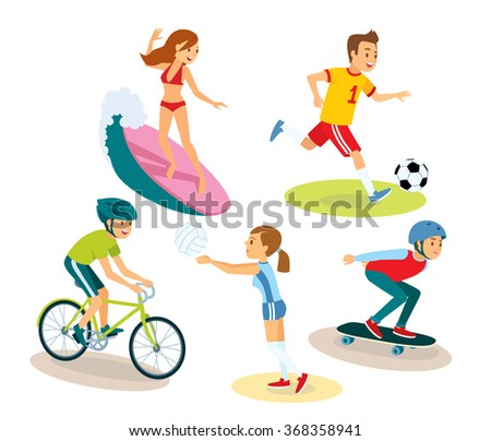 vector set of people and summer