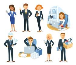 vector set of people, business, dismissal, office work