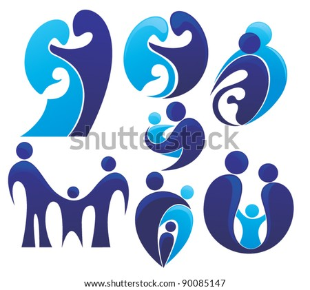 vector set of people, family and love