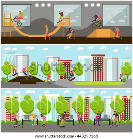 vector set of people on bicycle