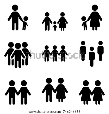 Vector Set of People Social Group Icons. Family and Friendship.