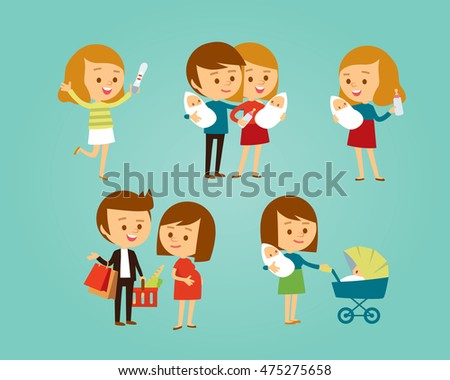 vector set of people with family and kids