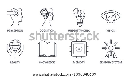 vector set of perception icons