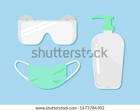 Vector set of personal Virus protective medical equipment including respiratory surgical mask, safety goggle glasses and disinfectant hand sanitizer antibacterial alcohol gel bottle for Covid concept