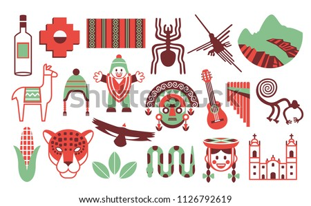 Vector Set Of Peru Icons Isolated On White Background