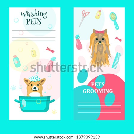 Vector set of pet grooming cards, flyers, posters with cute dogs taking bath, getting haircut, animal care accessories. Dog grooming services and supplies advertising banners.