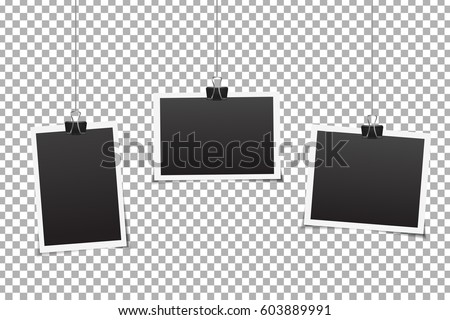 Vector set of photo frames on the transparent background.