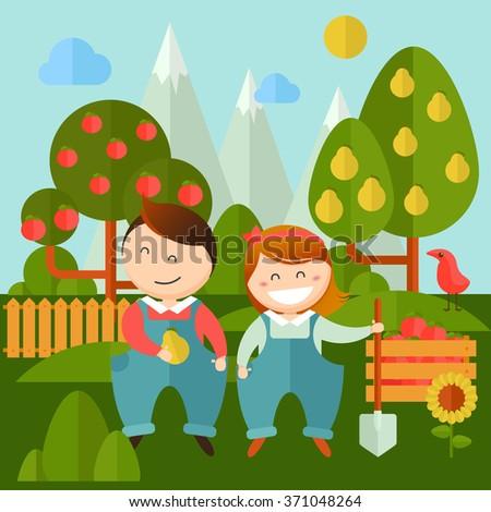 vector set of pictures gardener