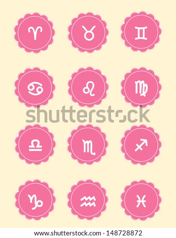 Vector set of pink female icons - Zodiac